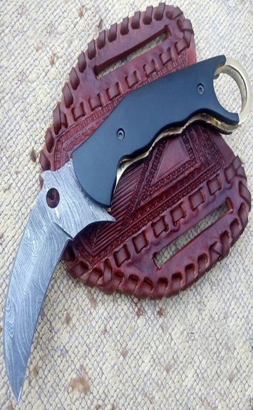 Damascus steel pocket karambit