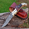 Damascus steel folding EDC knife
