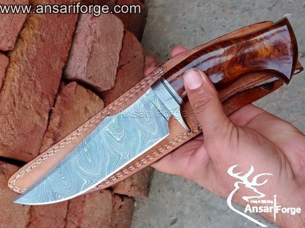 Custom handmade Damascus hunting knife