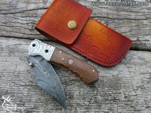 Damascus steel pocket knife