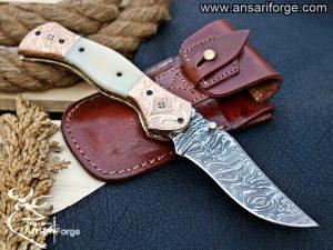 Custom Handmade Damascus Steel Folding Blade Pocket Knife For Sale